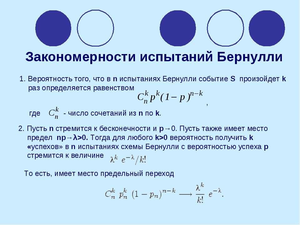 1. Вероятность того, что в n испытаниях Бернулли событие S произойдет k раз о...