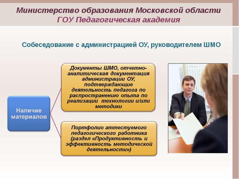 Собеседование с администрацией ОУ, руководителем ШМО Министерство образования...