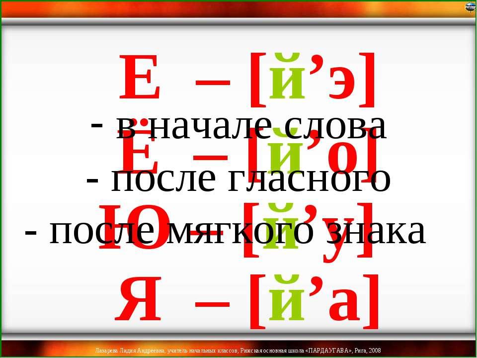 в начале слова - после гласного - после мягкого знака Ё – [й'о] Ю – [й'у] Я –...