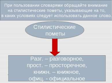 Значения слов , а также указание на условия их употребления содержатся в толк...