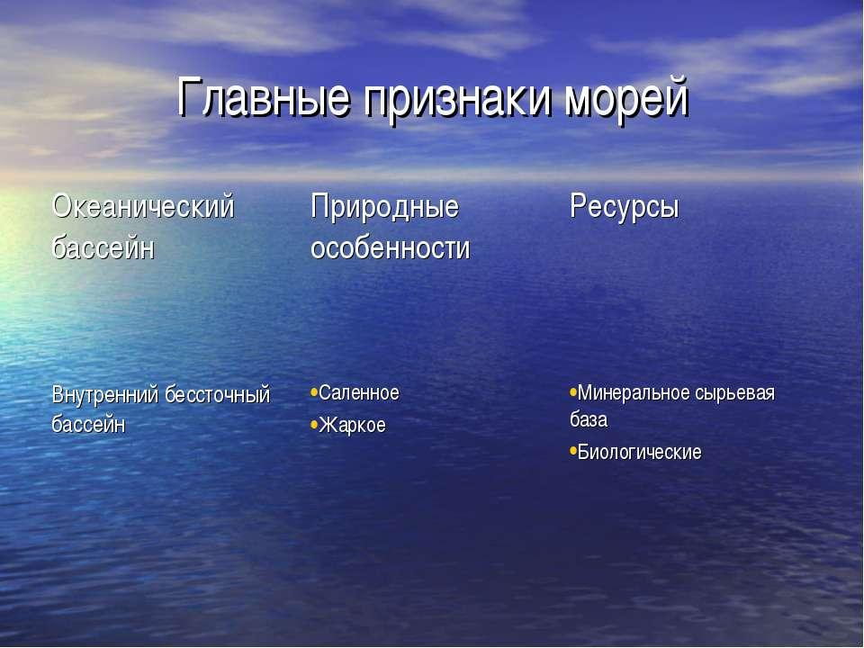 Главные признаки морей Океанический бассейн Природные особенности Ресурсы Вну...