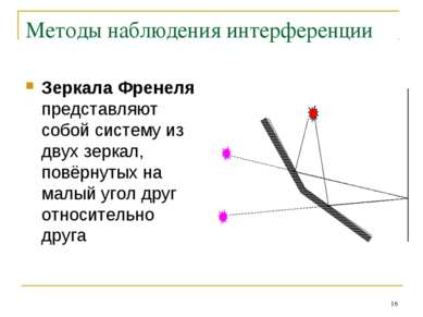* Методы наблюдения интерференции Зеркала Френеля представляют собой систему ...