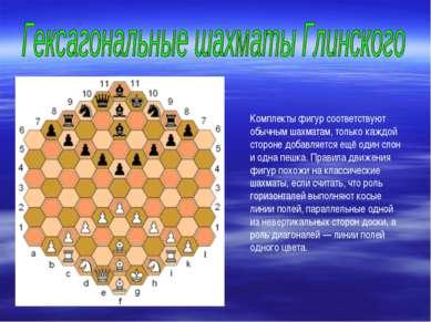 Комплекты фигур соответствуют обычным шахматам, только каждой стороне добавля...