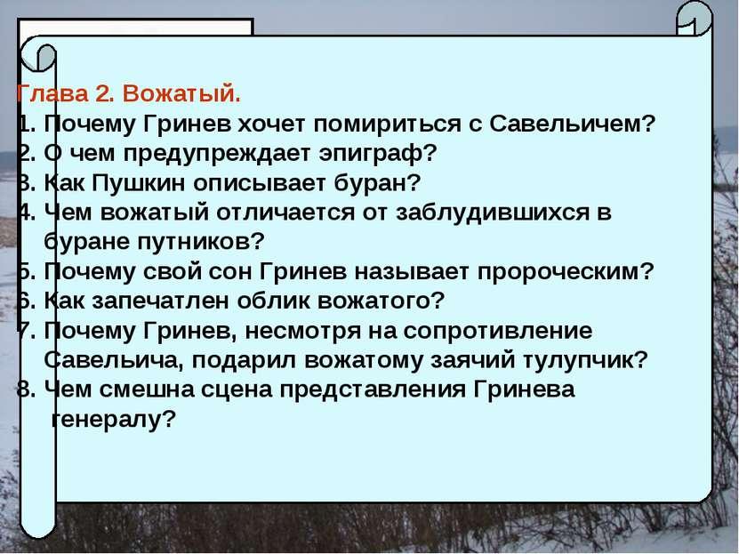 Глава 2. Вожатый. Почему Гринев хочет помириться с Савельичем? О чем предупре...
