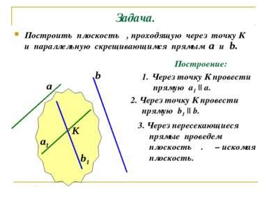 Задача. Построить плоскость α, проходящую через точку К и параллельную скрещи...