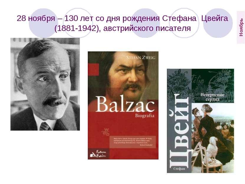 28 ноября – 130 лет со дня рождения Стефана Цвейга (1881-1942), австрийского...