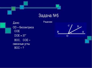 Задача №5 Решение: Дано: OD – биссектриса ےCOE ےDOE = 37˚ ےBOC, ےCOE – смежны...