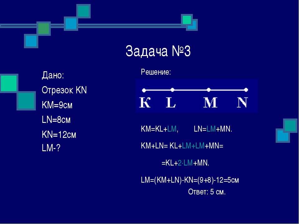 Задача №3 Решение: KM=KL+LM, LN=LM+MN. KM+LN= KL+LM+LM+MN= =KL+2∙LM+MN. LM=(K...