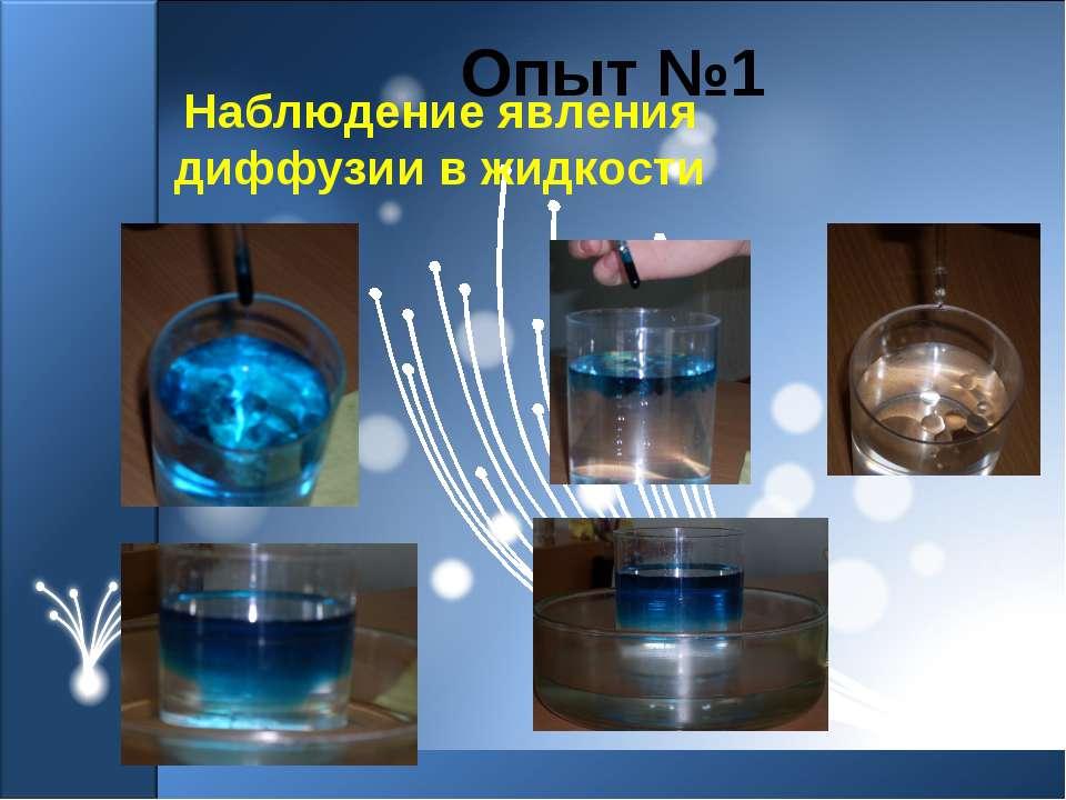 Наблюдение явления диффузии в жидкости Опыт №1