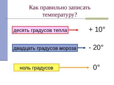 Как правильно записать температуру? десять градусов тепла + 10° двадцать град...