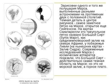 Зарисовки одного и того же полушария Марса, выполненные разными астрономами н...