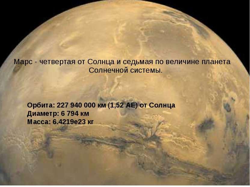 Орбита: 227 940 000 км (1,52 АЕ) от Солнца Диаметр: 6 794 км Масса: 6.4219е23...
