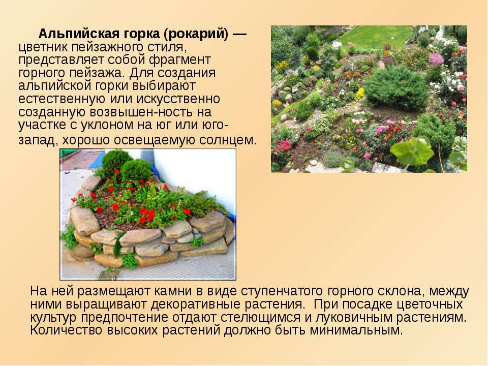 Альпийская горка (рокарий) — цветник пейзажного стиля, представляет собой фра...