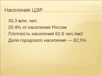 Население ЦЭР 30,3 млн. чел. 20,4% от населения России Плотность населения 62...