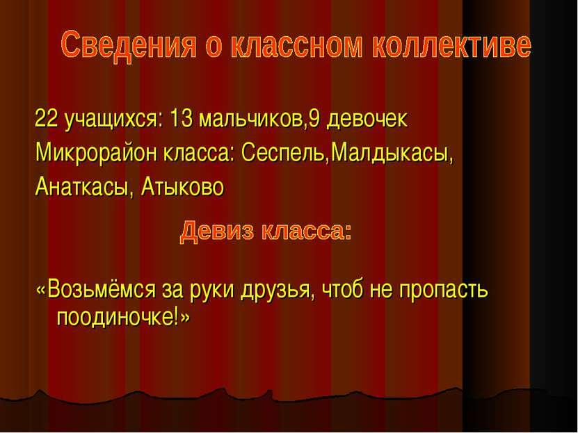 22 учащихся: 13 мальчиков,9 девочек Микрорайон класса: Сеспель,Малдыкасы, Ана...