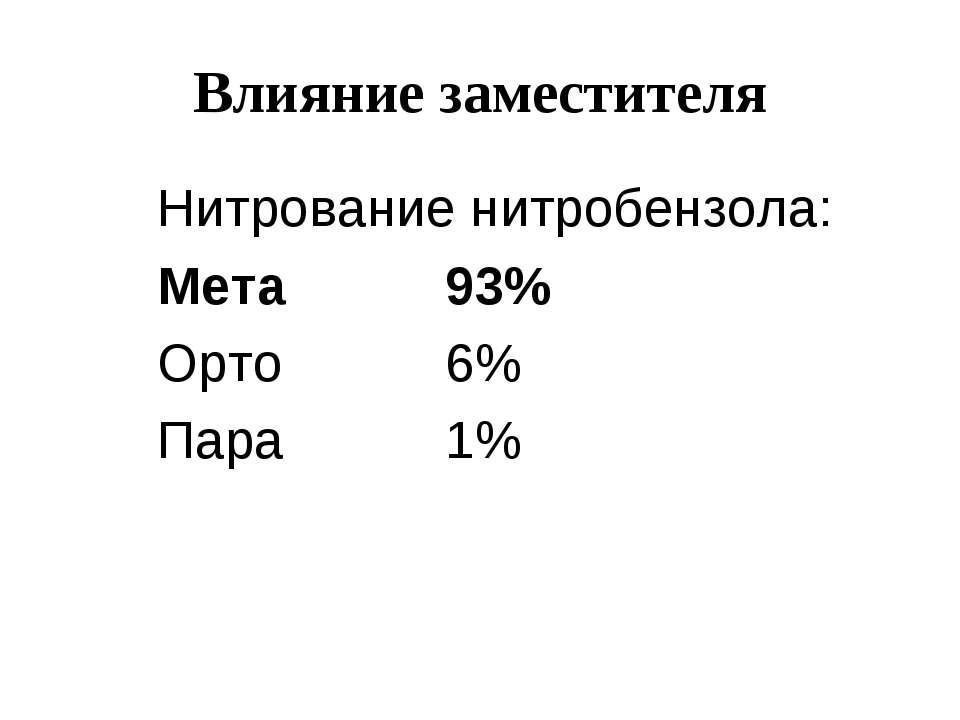 Влияние заместителя Нитрование нитробензола: Мета 93% Орто 6% Пара 1%
