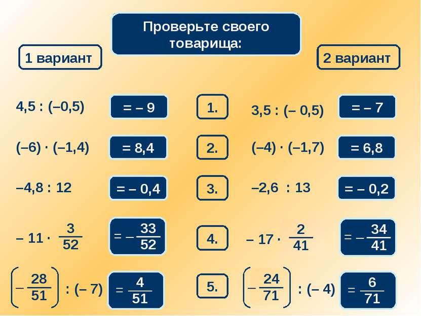 Математический диктант 1 вариант 2 вариант 1. 4,5 : (–0,5) = – 9 3,5 : (– 0,5...