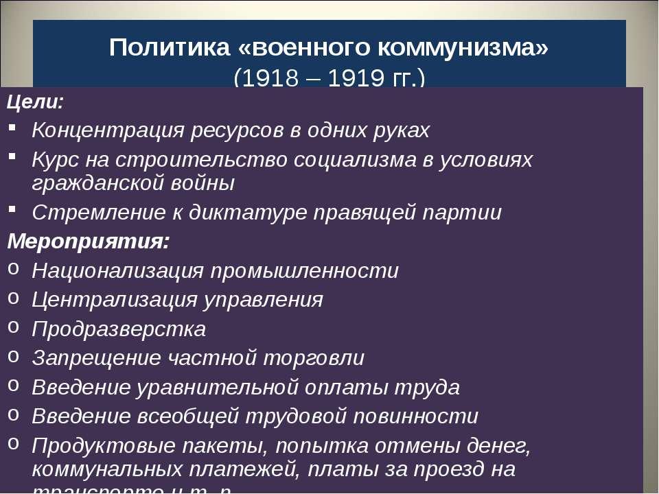 Политика «военного коммунизма» (1918 – 1919 гг.) Цели: Концентрация ресурсов ...