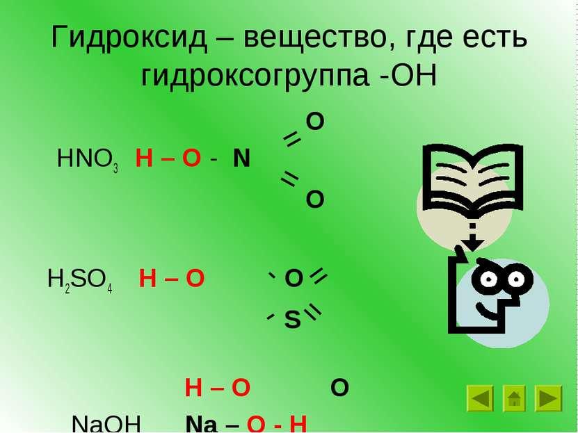Гидроксид – вещество, где есть гидроксогруппа -ОН O HNO3 H – O - N O H2SO4 H ...