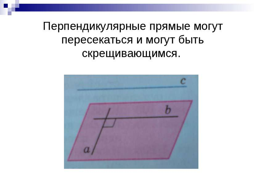 Перпендикулярные прямые могут пересекаться и могут быть скрещивающимся.