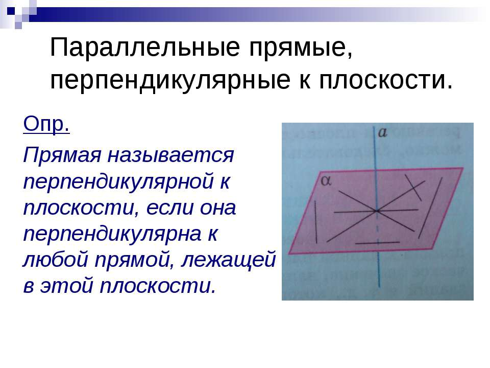Параллельные прямые, перпендикулярные к плоскости. Опр. Прямая называется пер...