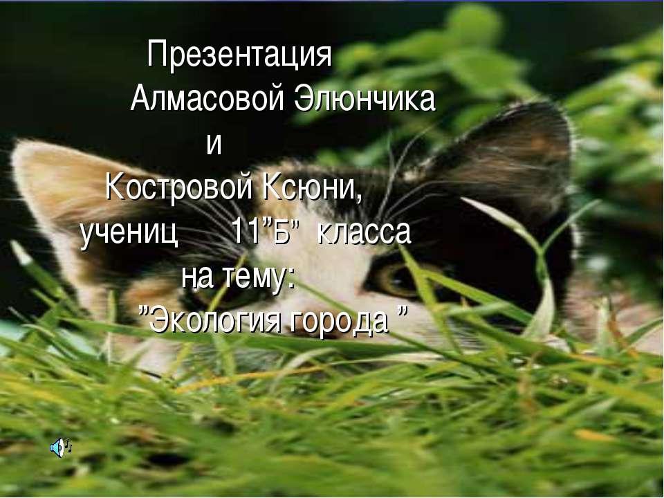 """Презентация Алмасовой Элюнчика и Костровой Ксюни, учениц 11""""Б"""" класса на тему..."""