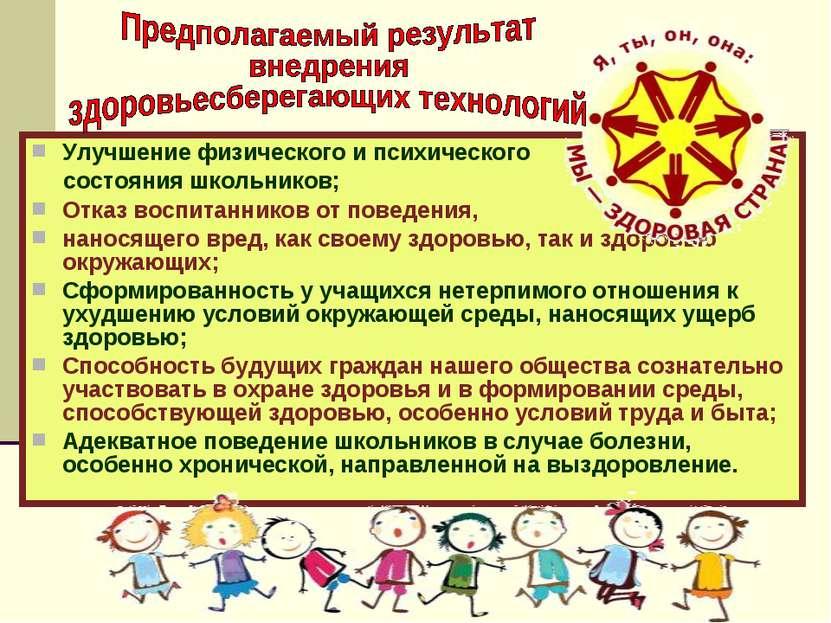 Улучшение физического и психического состояния школьников; Отказ воспитаннико...