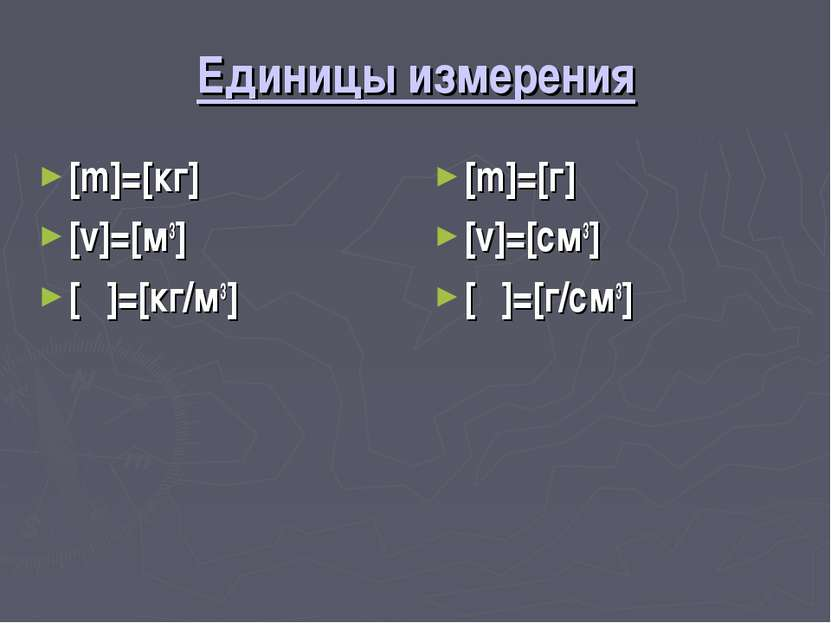 Единицы измерения [m]=[кг] [v]=[м3] [ρ]=[кг/м3] [m]=[г] [v]=[см3] [ρ]=[г/см3]