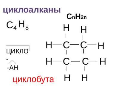 циклоалканы СnH2n C 4 H 8 C C H H H H H H -АН C C H H ЦИКЛО- циклобутан