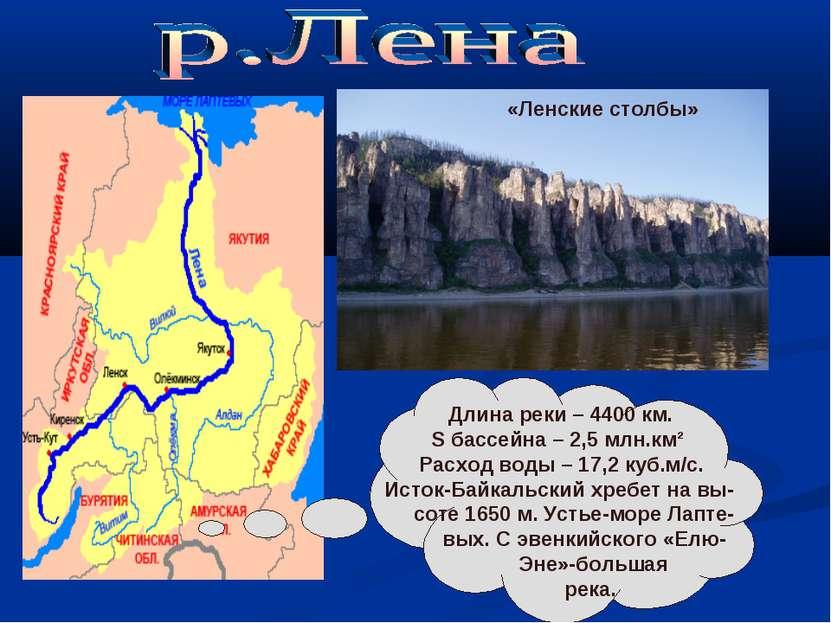 «Ленские столбы» Длина реки – 4400 км. S бассейна – 2,5 млн.км² Расход воды –...