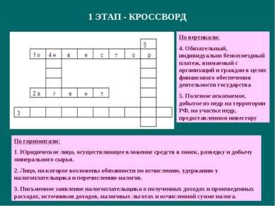 1 ЭТАП - КРОССВОРД По горизонтали: 1. Юридическое лицо, осуществляющее вложен...