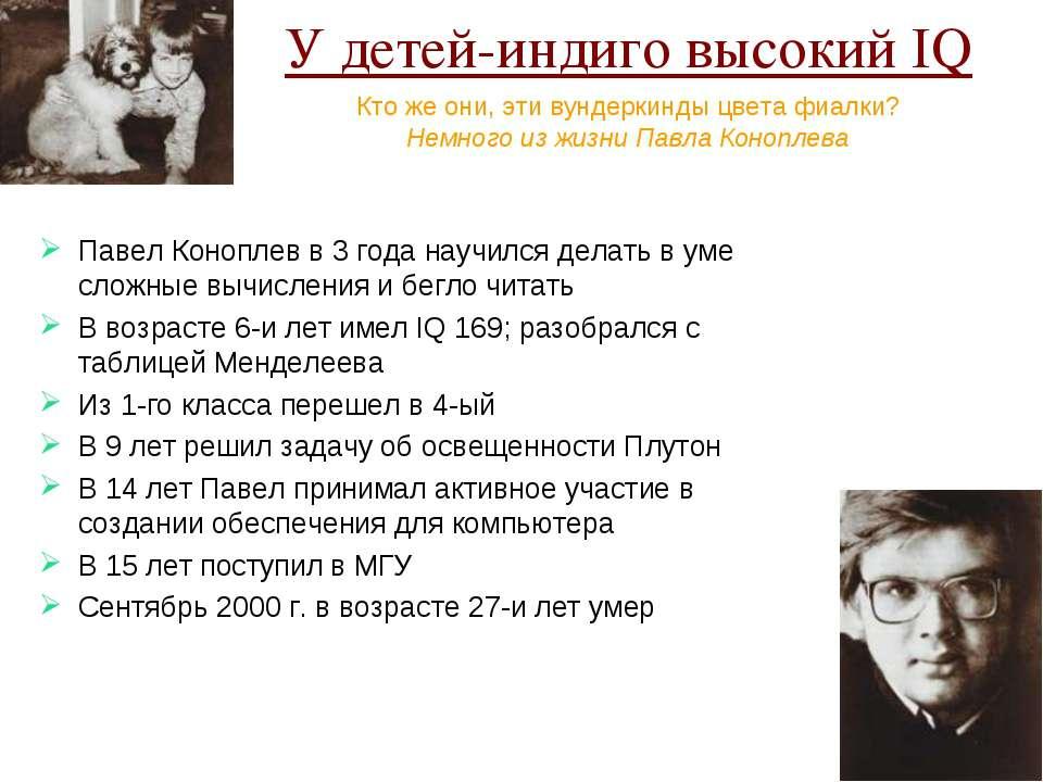 У детей-индиго высокий IQ Павел Коноплев в 3 года научился делать в уме сложн...