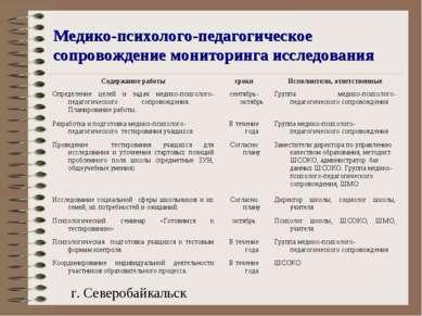 Медико-психолого-педагогическое сопровождение мониторинга исследования г. Сев...