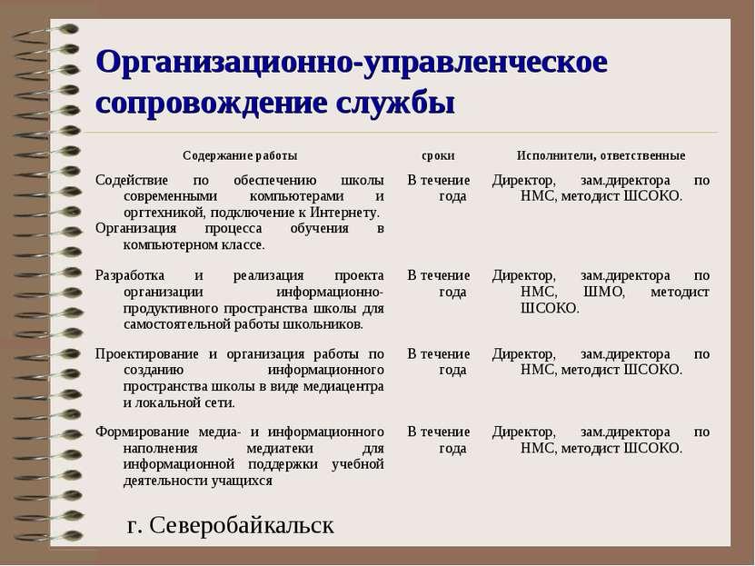 Организационно-управленческое сопровождение службы г. Северобайкальск