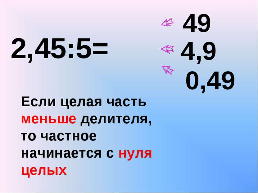 2,45:5= 49 4,9 0,49 Если целая часть меньше делителя, то частное начинается с...