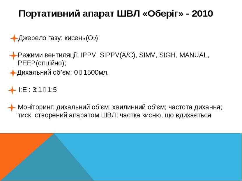 ......... Портативний апарат ШВЛ «Оберіг» - 2010 Джерело газу: кисень(О2); Ре...