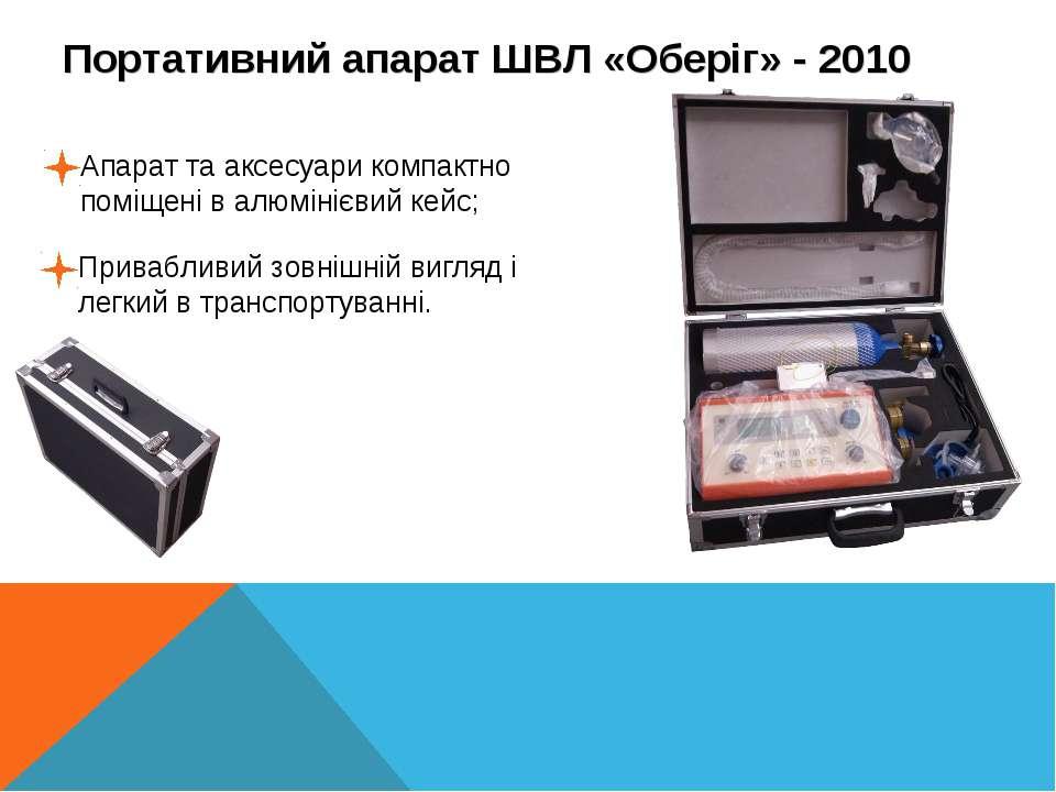 Портативний апарат ШВЛ «Оберіг» - 2010 Апарат та аксесуари компактно поміщені...