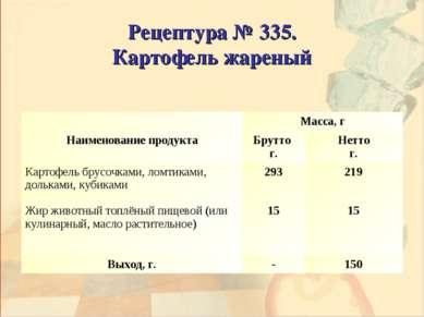 Рецептура № 335. Картофель жареный Наименование продукта Масса, г Брутто г. Н...