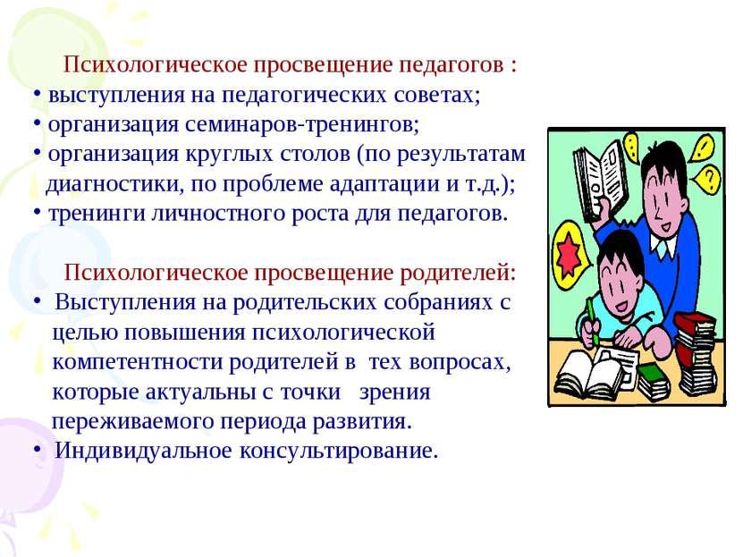 Психологическое просвещение педагогов : выступления на педагогических советах...