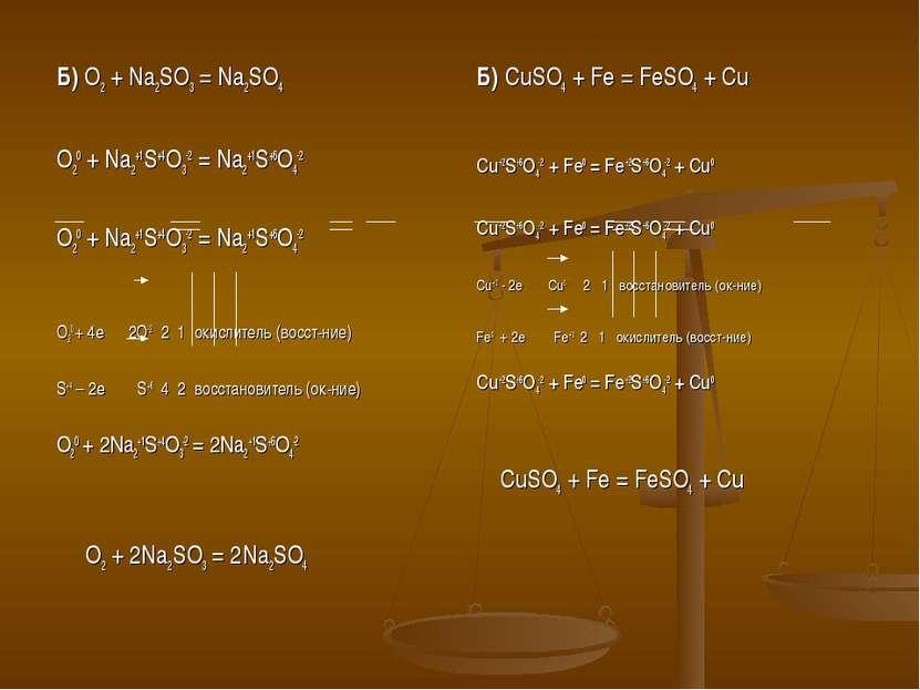 Б) O2 + Na2SO3 = Na2SO4 O20 + Na2+1S+4O3-2 = Na2+1S+6O4-2 O20 + Na2+1S+4O3-2 ...