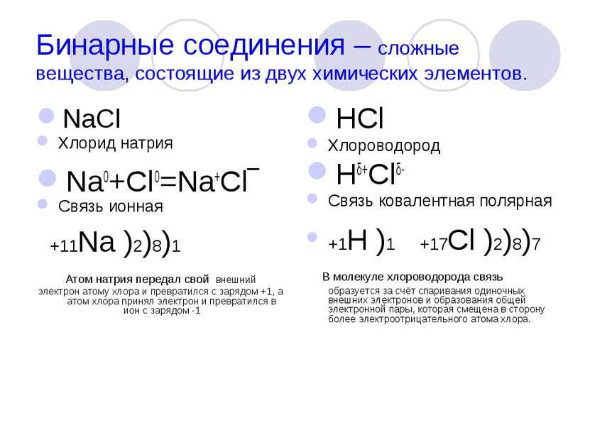 Бинарные соединения – сложные вещества, состоящие из двух химических элементо...
