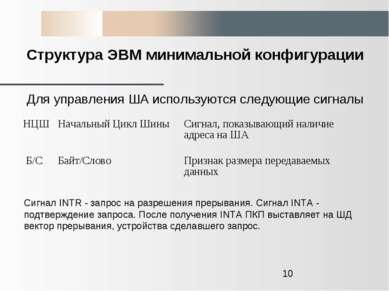Структура ЭВМ минимальной конфигурации Для управления ША используются следующ...