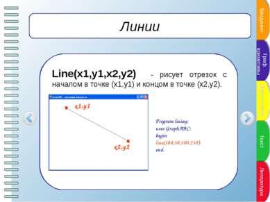Линии Line(x1,y1,x2,y2) - рисует отрезок с началом в точке (x1,y1) и концом в...