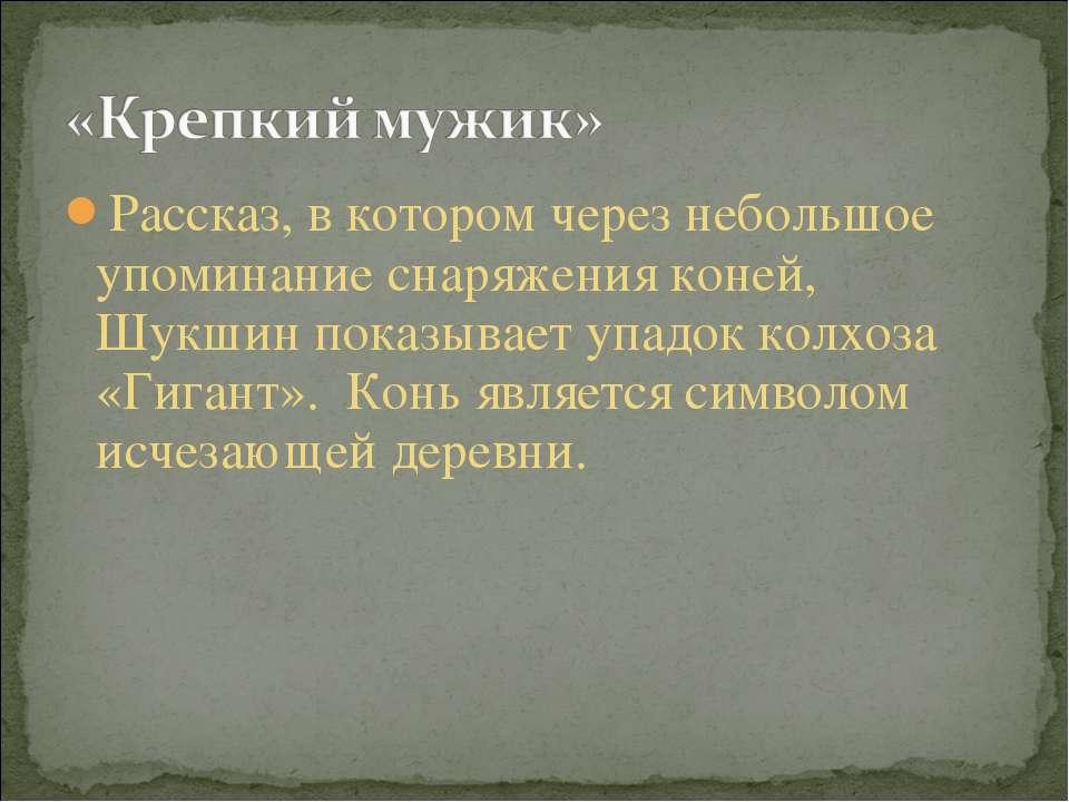 Рассказ, в котором через небольшое упоминание снаряжения коней, Шукшин показы...