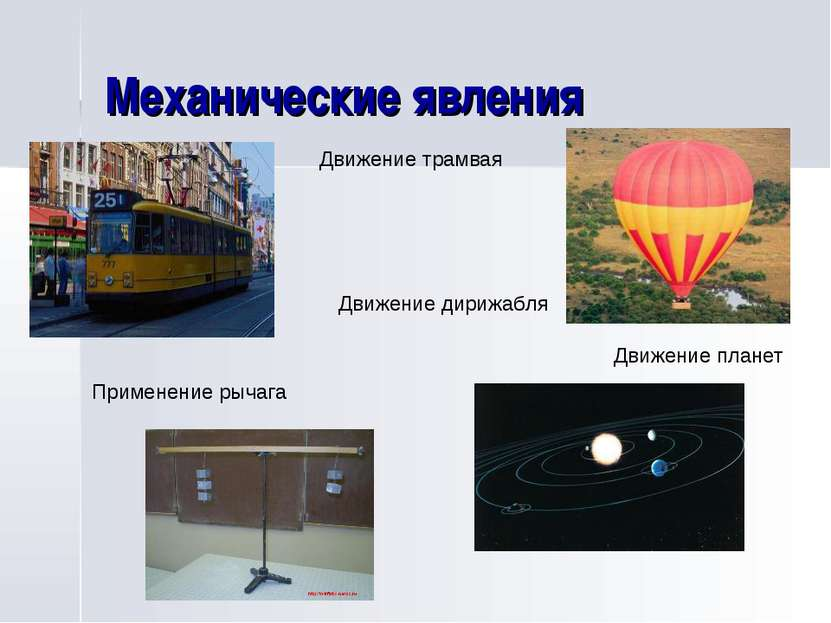 Механические явления Движение трамвая Движение дирижабля Применение рычага Дв...