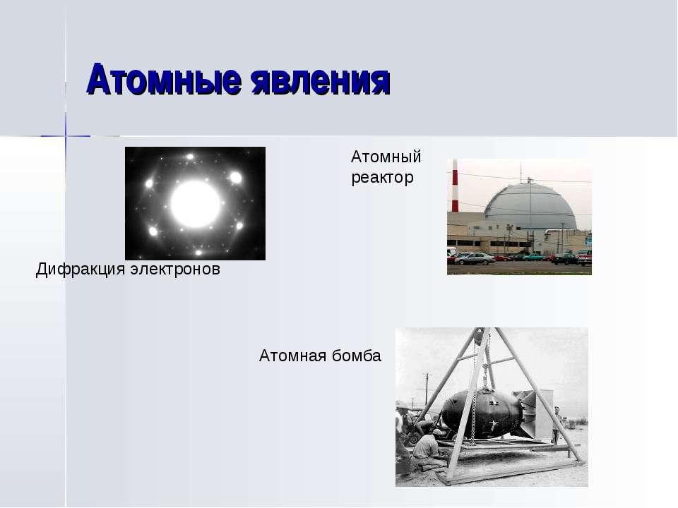 Атомные явления Дифракция электронов Атомный реактор Атомная бомба