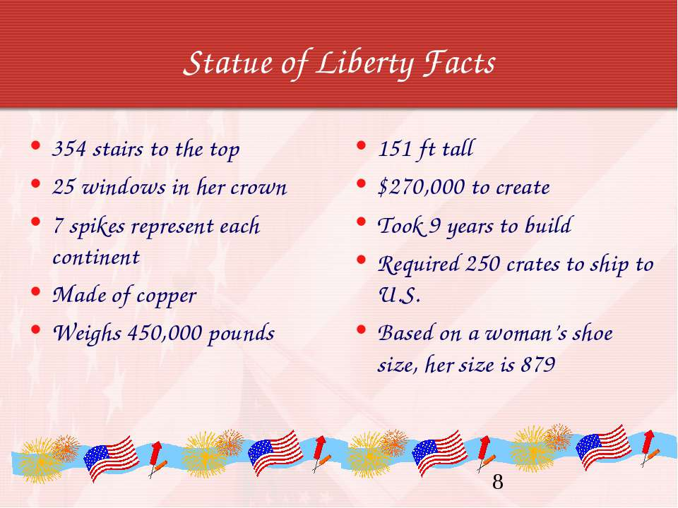 Statue of Liberty Facts 354 stairs to the top 25 windows in her crown 7 spike...