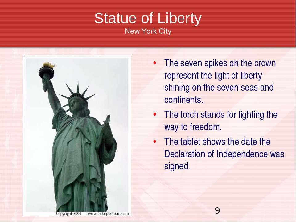 Statue of Liberty New York City The seven spikes on the crown represent the l...