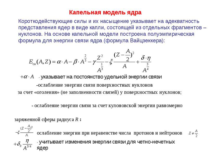 Капельная модель ядра Короткодействующие силы и их насыщение указывает на аде...