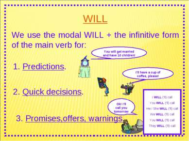 WILL We use the modal WILL + the infinitive form of the main verb for: I WILL...